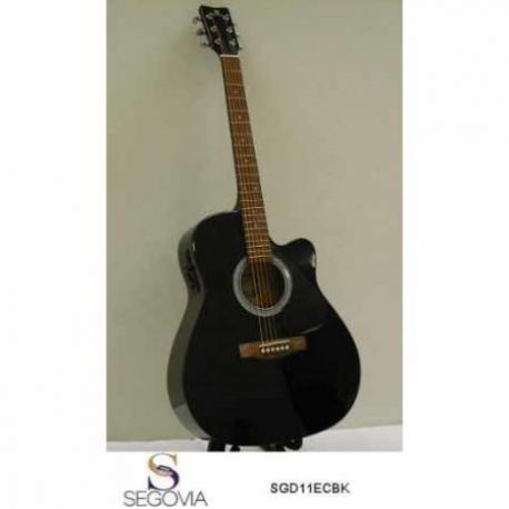 Guitarra Electroacustica SEGOVIA GUITARRA TEXANA E/ACUSTICA NEGRA C/ RESAQUE 6 CDAS  SGD11ECBK - Envío Gratuito
