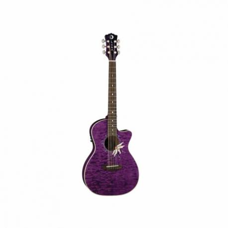 Guitarra Electroacustica LUNA GUITARRA ELECTROACUSTICA LUNA FLORA PURPURA TRANSP. MOD. FLO PF QM  8202886 - Envío Gratuito