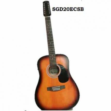 Guitarra Electroacustica SEGOVIA GUITARRA TEXANA E/ACUSTICA ROJO SUNBURTS 12 CDAS SEGOVIA  SGD20ECSB - Envío Gratuito